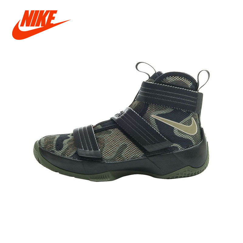 low priced f62be fafb5 Original Authentic Professional NIKE LEBRON SOLDIER 10 GS Boy Kids  Basketball Shoe Cool Camouflage Boys Sport Running Sneakers