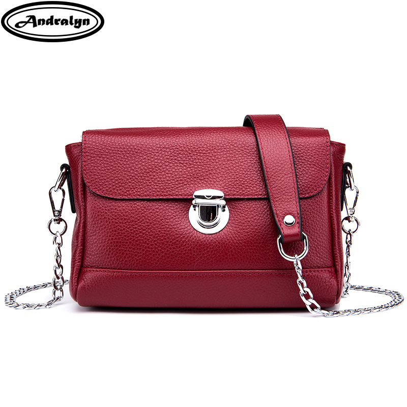 Andralyn 2018 New Cowhide Natural Leather Women Messenger Bags Ladies Fashion Shoulder Crossbody Chain Bag Women's Small Bags new small crossbody bag casual shoulder bags women small fashion split leather messenger bags ladies fashion handbag women chain