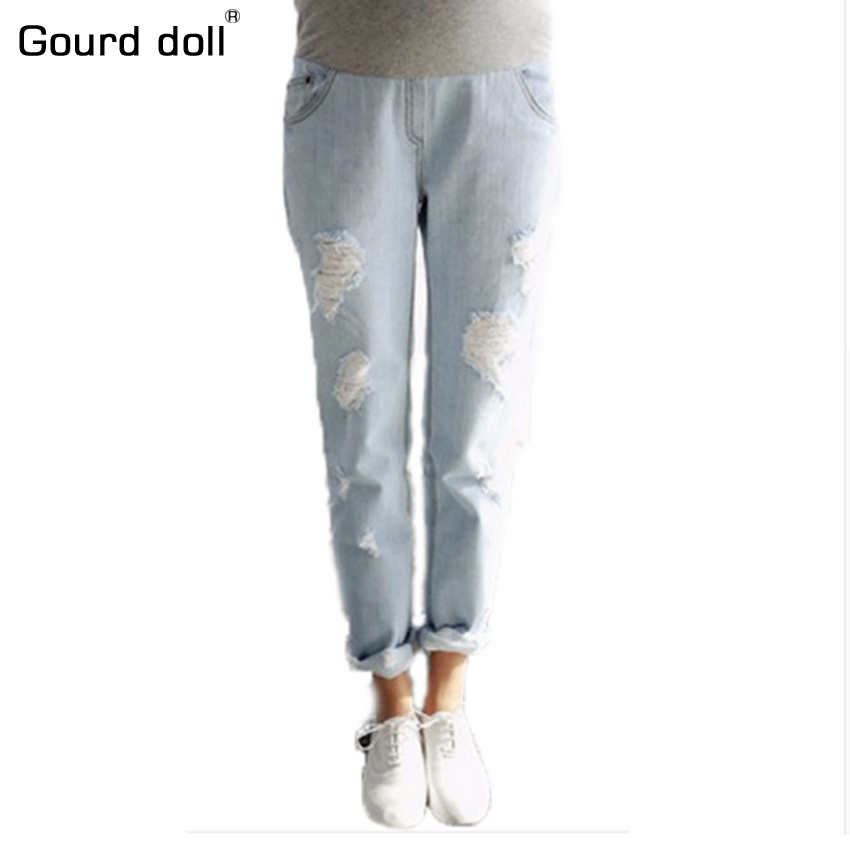 Gourd doll Maternity pregnancy denim jeans Distrressed pants for pregnant women Elastic waist jeans pregnant pregnancy