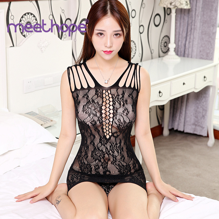 Female Porn Sexy Costumes Lingerie Sexy Net Nightdress Black Striped Fishnet Mini Chemise Dress Erotic Underwear For Women sissy in Lingerie Sets from Novelty Special Use