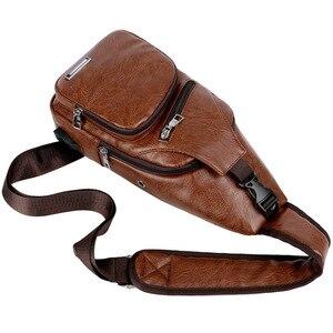 Image 4 - Bolso informal de cuero con bandolera para hombre, bandoleras cruzadas para viaje