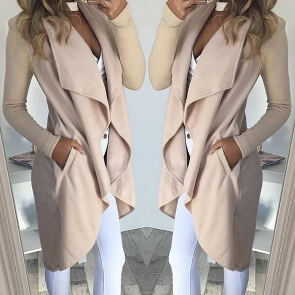 Slim Coat Cardigans Irregular Trench Women Long for Frauen Modegilet Turn-Down-Collar