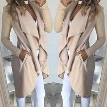 2019 Irregular Turn-down Collar Trench Women Slim Coat Cardi