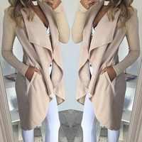 2019 unregelmäßige drehen-unten Kragen Graben Frauen Dünne Mantel Strickjacken Für Frauen Frauen Modegilet Lange Strickjacken Frauen graben