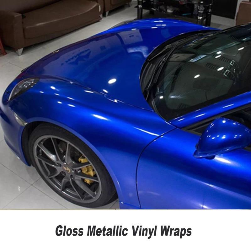 Super glossy candy colored glitter car body wrap vinyl film blue glossy series dark blue metallice glossy vinyl foil