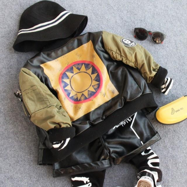 2-9Y 2016 novos meninos inverno moda patchwork algodão-acolchoado quente jaqueta PU meninos serviço locomotiva bonito crianças casaco quente