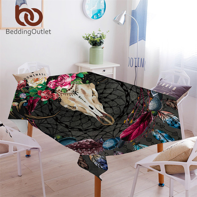 BeddingOutlet Boho Dreamcatcher Tablecloth Tribal Horns Flowers Waterproof  Table Cloth Gothic Skull Decorative Table Cover
