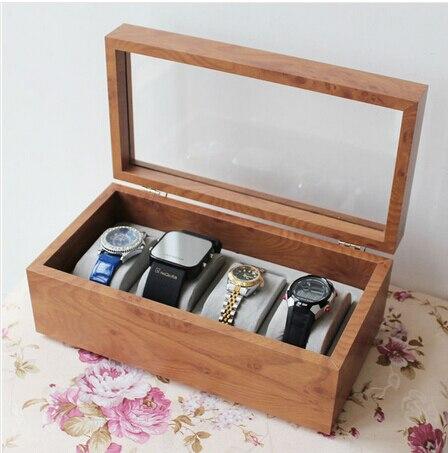 Mode 4-grille en bois montre boîte en bois montres boîtier avec fenêtre en verre montre remontoir montre boîte de rangement MSBH003