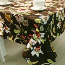 Simanfei 2017 Manto de Lujo Negro Floral de la Flor de la Hoja de Impresión Mantel A Prueba de Polvo Del Palacio de La Vendimia Mantel Toalha de mesa