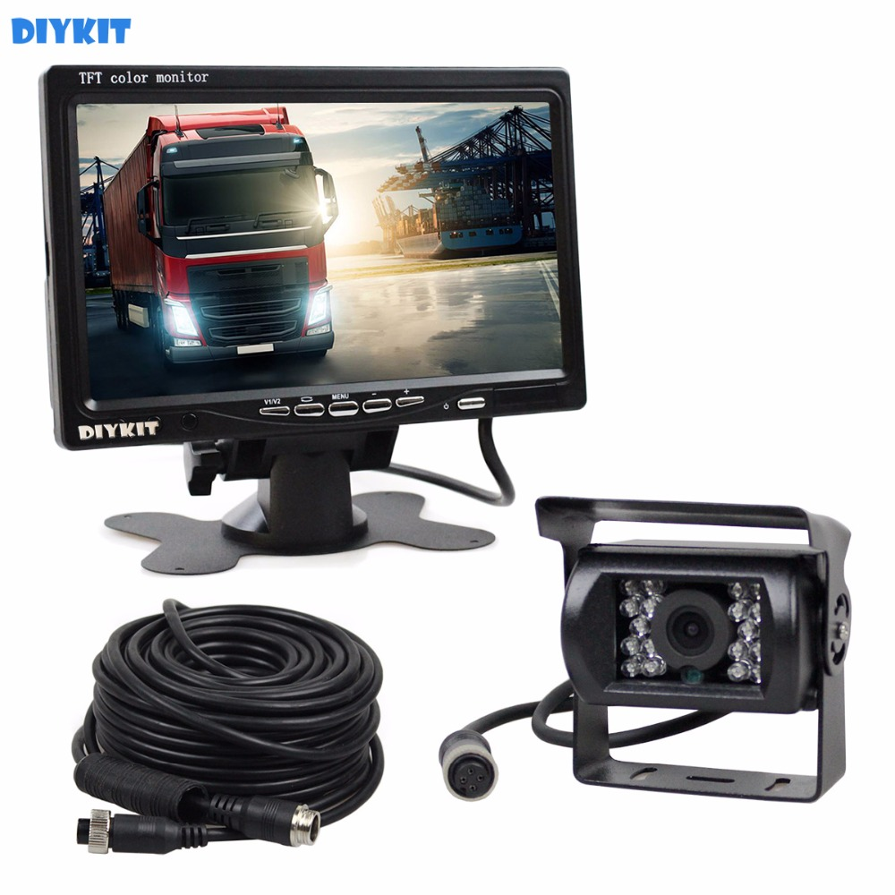 DIYKIT DC 12V-24V 7 inch TFT LCD Car Monitor + 4pin IR Night Vision CCD Rear View Camera for Bus Houseboat Truck diykit ir night vision ccd rear view car camera white 7 inch hd tft lcd car monitor reverse rear view monitor screen