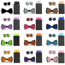 New Men Double Color Bowtie Pre-folded 4 Folds Hanky Pocket Square Cufflinks Set BWSET0042