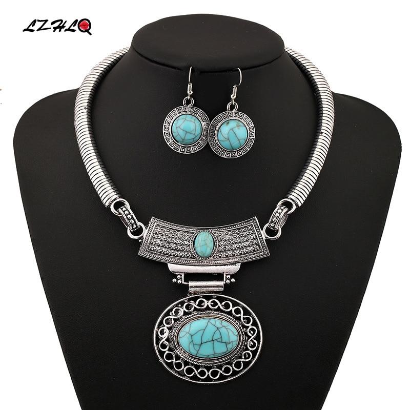 цена на LZHLQ 2019 Fashion Necklace Gold Silver Colar Vintage Bohemian Ethnic Choker Maxi Statement Necklace Women Jewelry