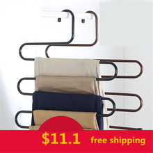 Mens S-type Pants Hangers Holders For Trousers Space Saveing Coat Clothes Storage Metal Magic Pants Hangers WWI118