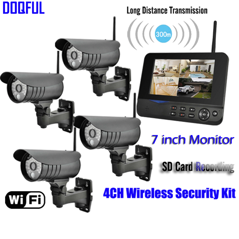 New 7 LCD Monitor Home Security Camera System Wireless Quad SD Recording PIR Alarm 4CH Digital CCTV DVR Surveillance Kit DIY vga 4ch color cctv security camera quad processor remote control