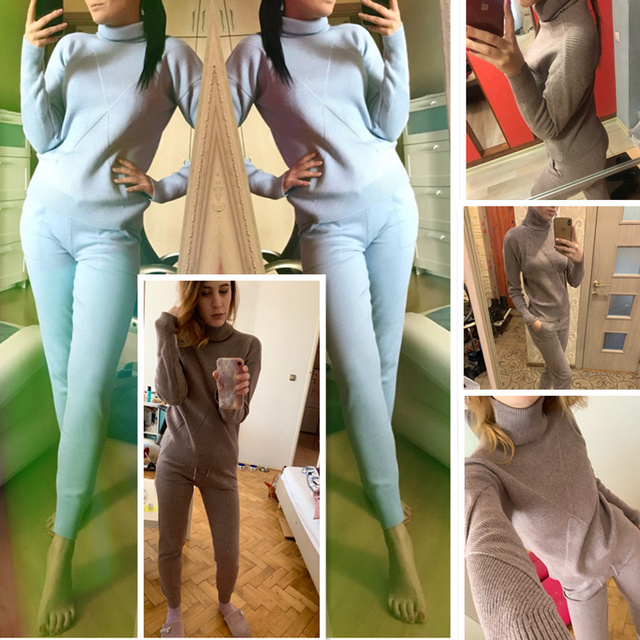 Autumn winter Knitted tracksuit Turtleneck sweatshirts Casual Suit Women clothing 2 Piece set Knit pant Sporting suit Female 2