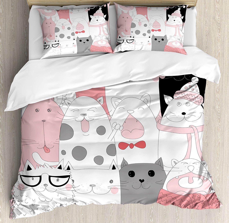 Ensemble housse de couette chat, dessin animé mignon chatons Collection drôle souriant lunettes écharpes Doodle Humor, ensemble de literie 4 pièces