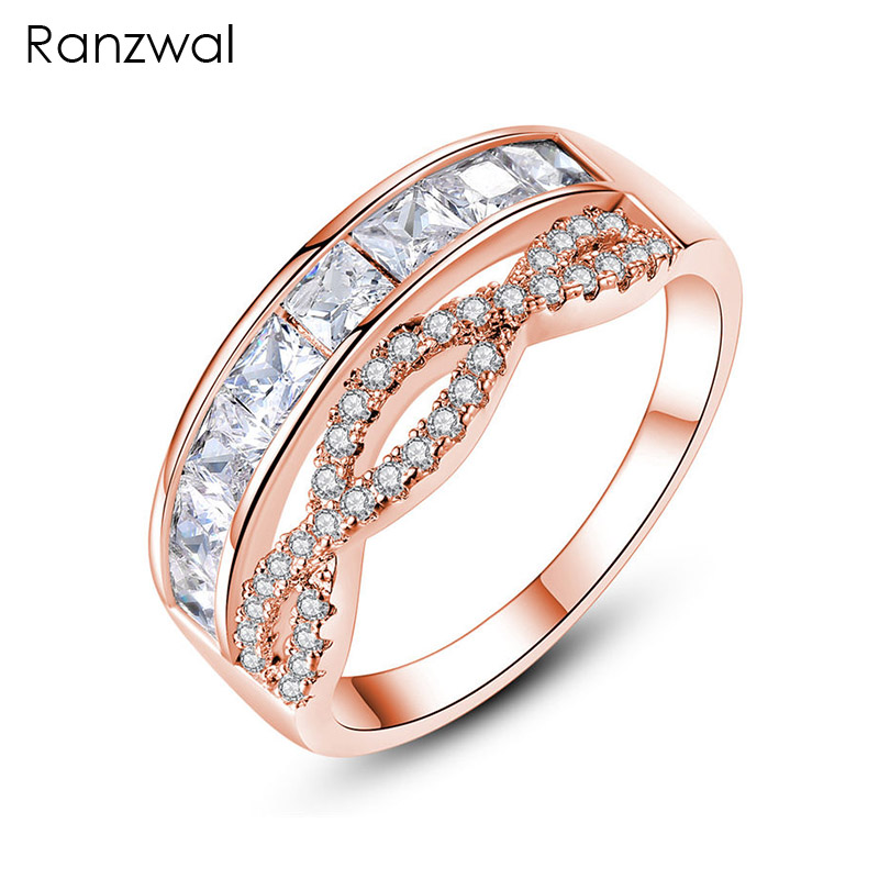 Ranzwal Trendy Wave Belt Rings for Women Square Cubic Zircon Crown Ring Wedding Jewelry US SIZE 7~9 ARI202