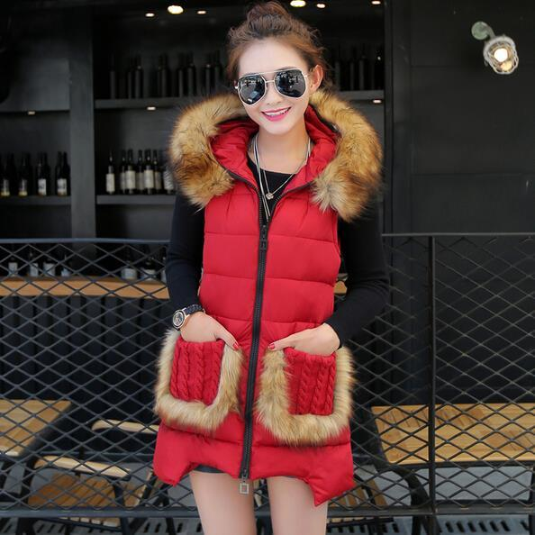 autumn winter brand new hooded fur collar Slim Down Girls big yards long cotton vest jacket women fashion waistcoat vestidos