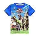 T-shirt meninos jurassic park dinossauro t-shirt do verão 2017 crianças marca de roupas para crianças de manga curta 3d impressão camiseta de algodão poli