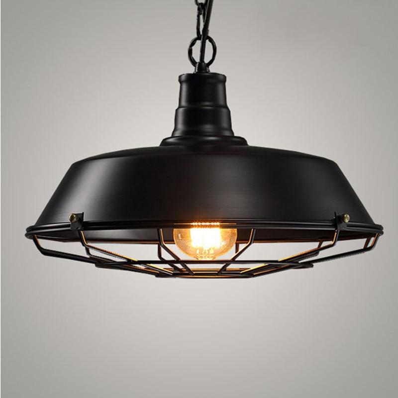 Vintage Pendant Lamps Black Pendant Lamp retro metal hanging lamps E27 Kitchen Fixtures modern suspension light fixtures