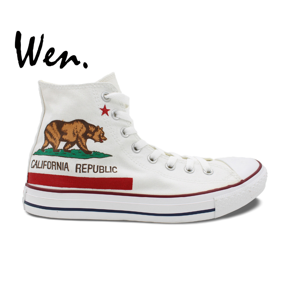 DemüTigen Wen Design Custom Weiß Hand Gemalt Schuhe Kalifornien Flagge Männer Frauen Geschenke High Top Mann Frau Leinwand Turnschuhe