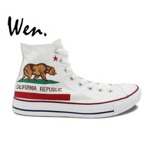 Wen Design Custom White Hand Painted Shoes California Flag Men Women's Gifts High Top Man Woman's Canvas Sneakers