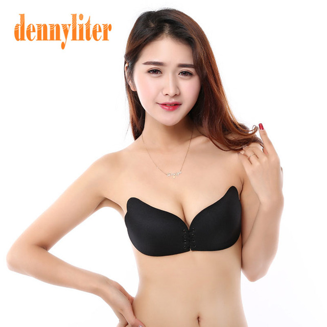 beef023793 Hot Sale Black Beige Self-Adhesive Push Up Silicone Bust Front Closure  Strapless Bra Seamless Invisible Bra Chest Paste Sexy Bra