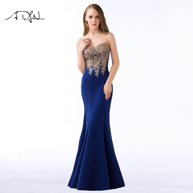 ADLN 2018 Royal Blue Mermaid Evening Dresses Simple Party Gowns Long Cheap Prom Wear Special Occasion Dress