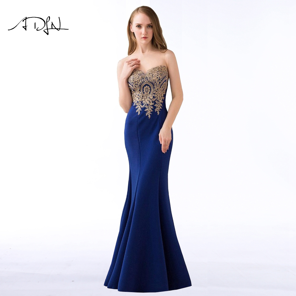 ADLN 2018 Stock Mermaid Evening Dresses Royal Blue Party Gowns Long ...