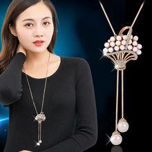 Женское длинное ожерелье с подвесками в виде цветочной корзины