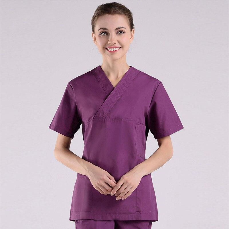 Summer Hospital Laboratory Medical Uniform Care Scrub Clothes Short Sleeve Coat Doctor Nurse Clothing Brush Handmade Clothing in Scrub Sets from Novelty Special Use