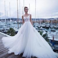 Charming Sheer Neck Bohemian Wedding Dresses Vestidos de Novia White/Ivory Tulle Appliqued Customized Lace Bridal Gown 2019