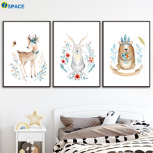 Deer Rabbit Bear Wall Art Canvas Painting Posters And Prints Nordic Poster Nursery Pictures For Baby Girl Boy Room Decor