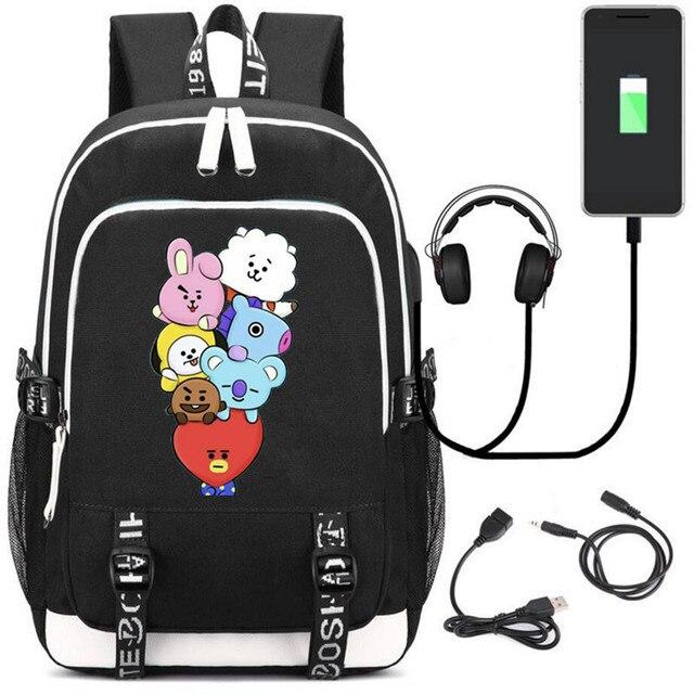 Рюкзак BTS к-поп USB зарядка и кабель бесплатно 2