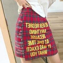 Casual Korean plaid letter Print Womens Skirt Summer New Retro A-line high waist Mini Woman Fashion 2019 Ladies Clothes
