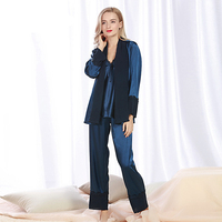 SSH079 High Quality Women Lace Sexy Sleepwear Satin Silk Spring Autumn Full Sleeved Nightwear Coat Camisole