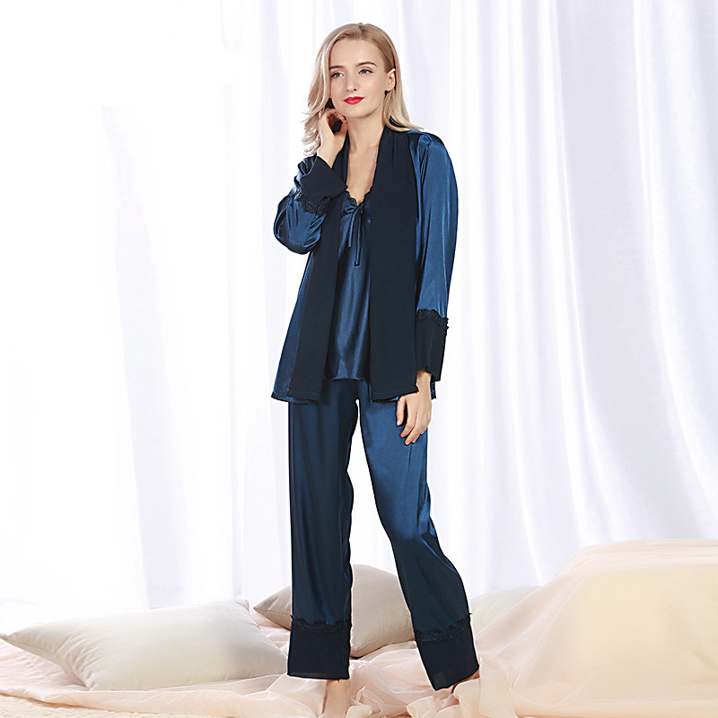 SSH079 High Quality Women Lace Sexy Sleepwear Satin Silk Spring Autumn Full Sleeved Nightwear Coat Camisole Pants Pajamas Sets