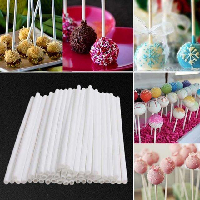 100pcs Candy Sticks Food-Grade Solid Plastic Lollipop Stick Cake Sticks For Chocolate Sugar Candy Color DIY Paste Tool