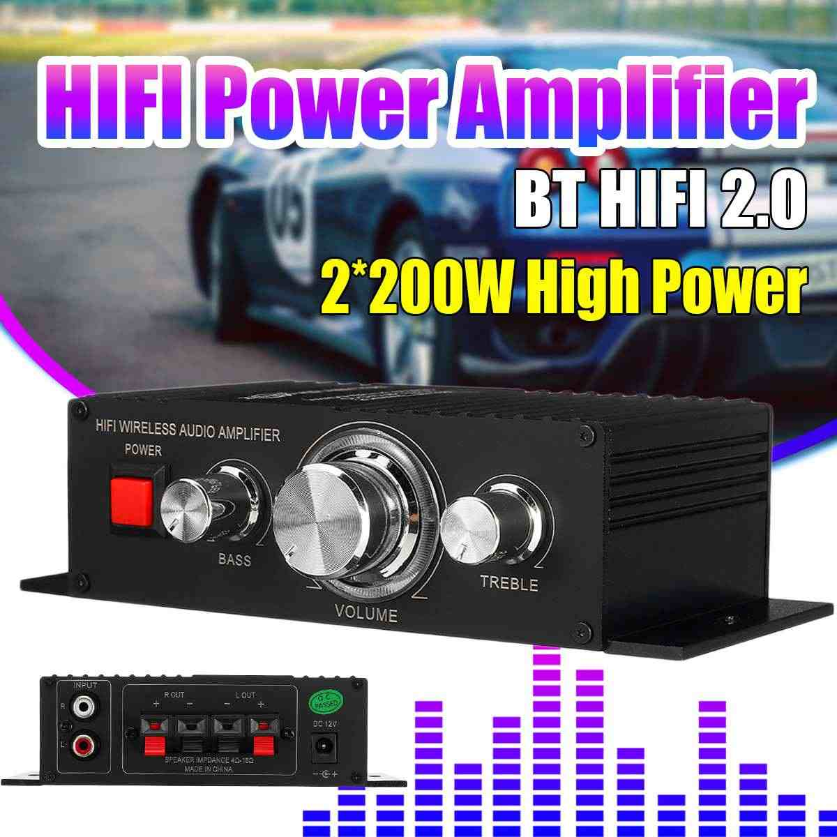 12V 2*200W Stereo Hifi Car Home Subwoofer Amplifier Amp Sound Speaker bluetooth  4.2+EDR Audio LED Design