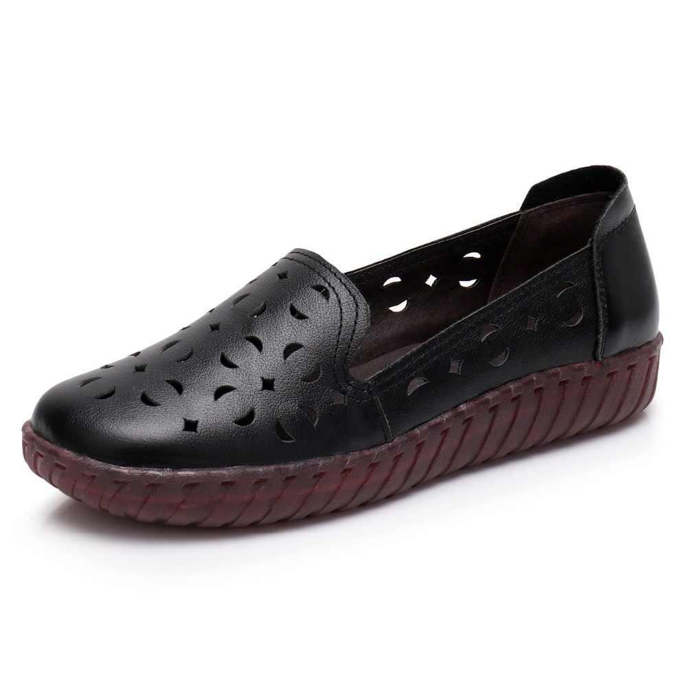 ALISHINREY Vrouwen Flats Zomer Schoenen Echt Leer Instappers Cut-Out Comfortabel Ademend Casual Platte Schoenen Schoeisel