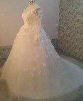 كم طويل مسلم الحبيب فساتين الزفاف العربية الرباط الزهور شير تول الأبيض الكرة ثوب ثوب الزفاف زائد الحجم