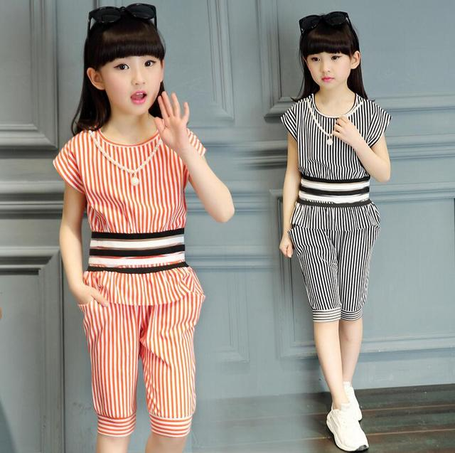 Summer Clothing Sets For Girls Thin Pullover Comfortable Cotton Vetement Fille Striped Half Trousers Casual Children's Costumes