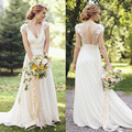 Custom Made Vestido De Noiva Ivory/White Chiffon Short Sleeve Lace Beach Wedding Dress Bridal Gown