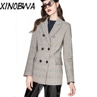 2018 New Arrival Women Autumn Fashion Slim Double Breasted Sexy V Neck Plaid Suits Blazers Female Office Lady Vintage Outwear