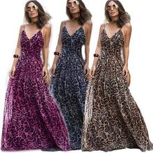 Summer Women Dress Sexy Ladies V-neck Spaghetti Strap Dress Elegant Female Streetwear Bohemian Beach Floor Long Leopard Dress