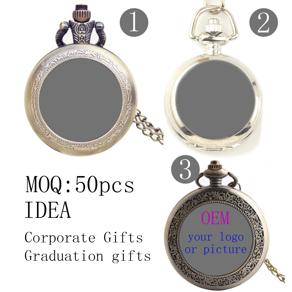 Wholesale 500pcs/lot DIY Pocket FOB Watches Custom Logo For Sale Free Shipping Men Women Gift Argos Corporate Graduation Gifts