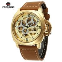 FORSINING Top Marke Mens Automatische Uhren Skelett Männliche Lederband 3D Index Design Mechanische Armbanduhr Relogio Masculino-in Mechanische Uhren aus Uhren bei