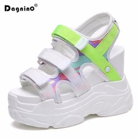 DAGNINO 2018 Summer Platform Sandals Women 11CM Wedges Thick Bottom Casual Shoes Comfortable White Hook & Loop Sandals Sneakers