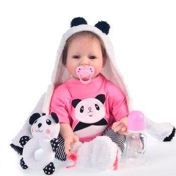 Realista bb reborn 55cm Soft Silicone Reborn Baby Dolls Lifelike Soft Cloth Body Newborn baby toys for children bebe gift reborn