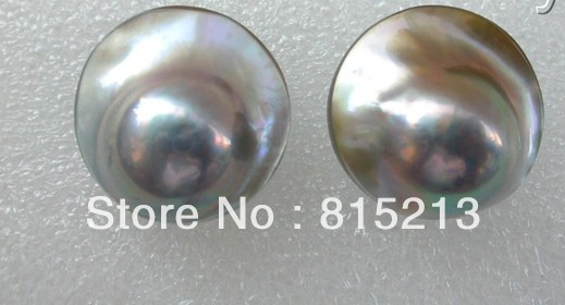 Hot selling> stunning big 23mm round gray south sea mabe pearl earrings stud -Bride jewelry free shipping